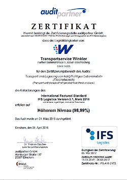 Zertifikat IFS Logistics - Transportservice Winkler
