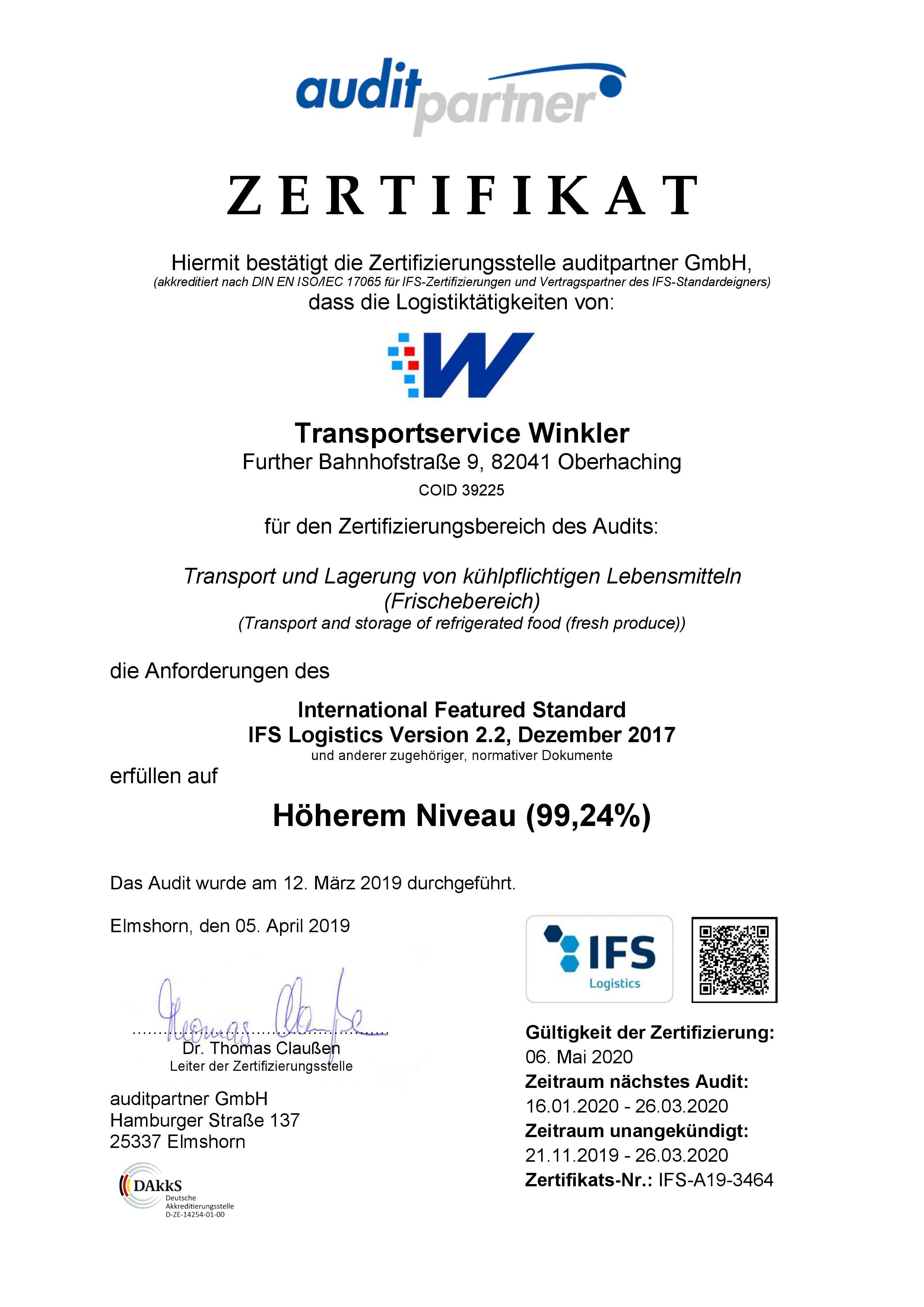 Zertifikat IFS Logistics 2.2 / 2019