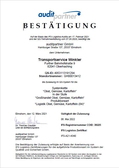 QS Zertifikat 2021