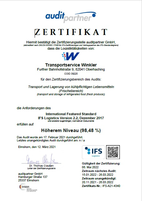 Zertifikat IFS Logistics 2.2 / 2020